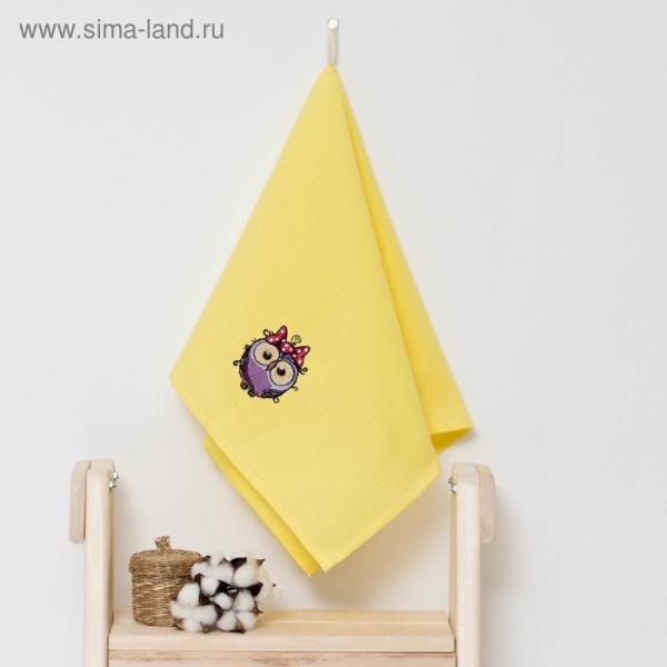 """Полотенце детское """"Доляна"""" Совушка, цвет солнечный 40х70 см, 100% хлопок, 150 г/м²"""