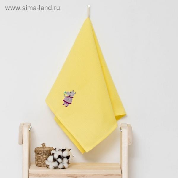 """Полотенце детское """"Доляна"""" Бегомотик, цвет солнечный 40х70 см, 100% хлопок, 150 г/м²"""