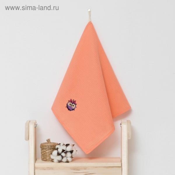 """Полотенце детское """"Доляна"""" Совушка, цвет коралловый 40х70 см, 100% хлопок, 150 г/м²"""