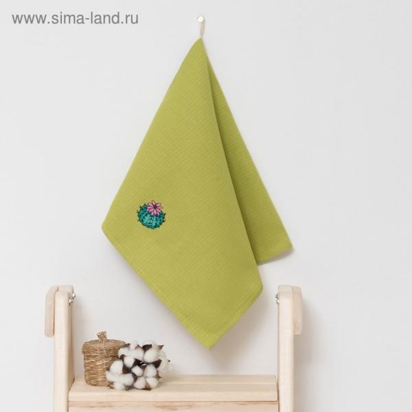 """Полотенце детское """"Доляна"""" Кактус, цвет оливковый 40х70 см, 100% хлопок, 150 г/м²"""
