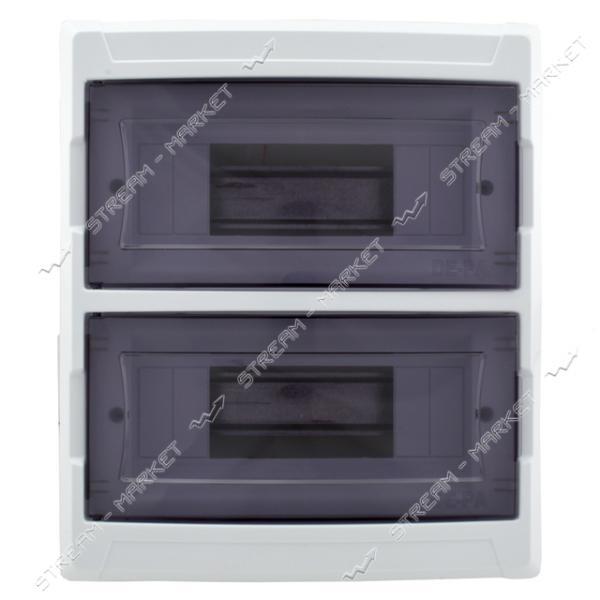 Щиток на 16 автоматов DE-PA 91016 (2-х уровневый) со стеклом наружнный (белый) Турция