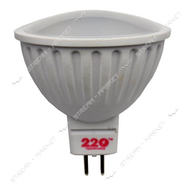 Лампа светодиодная 220 MR16 5W 220V 3000К GU 5.3