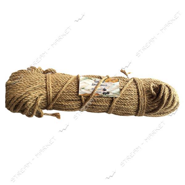 Веревка Лен d6мм 100м кооперативная крученое плетение льняной нити