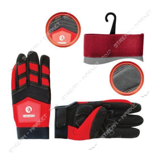 Перчатка Microfiber INTERTOOL SP-0143 тканевая красная с черными вставками спандекса на ладони 10'