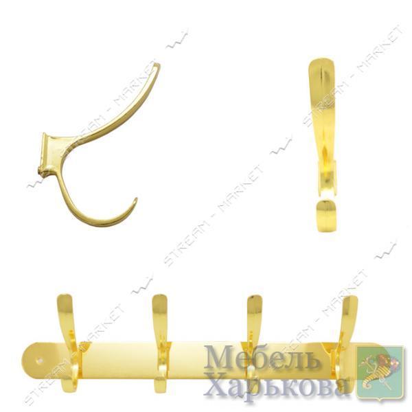 Вешалка на 4 крючка 303 золото - Вешалки для одежды в Харькове