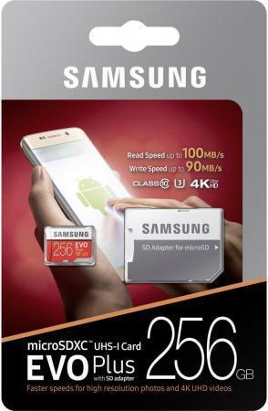 Карта памяти Micro SDXC 256Gb Class 10 Samsung EVO PLUS v2 MB-MC256GA + SD adapter