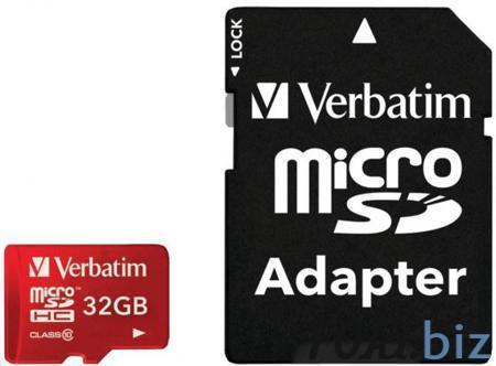 Карта памяти Micro SDHC 32GB Class 10 Verbatim 44044 + адаптер красный Карты памяти в России