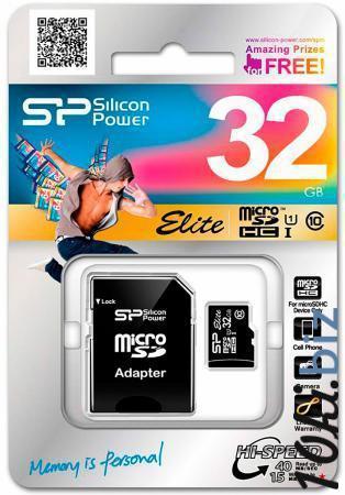 Карта памяти Micro SDHC 32Gb Class 10 Silicon Power Elite UHS-1 + 1 Adapter SP032GBSTHBU1V10-SP Карты памяти в России