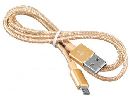 Кабель microUSB 1м BURO Reversible Braided BHP круглый золотистый USB2.0 375167