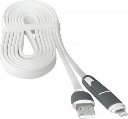 Кабель microUSB 1м Defender USB10-03BP плоский + Lightning 87493