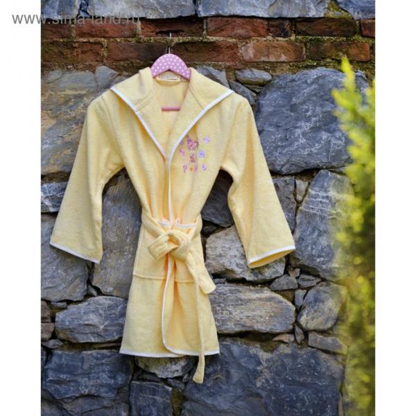 Халат детский Young с вышивкой, 12-14 лет, цвет жёлтый 2951