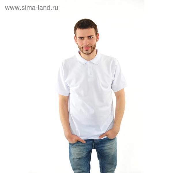 Футболка поло мужская арт.PM0110301031StandartL, цвет белый, р-р 54 (XXXL)