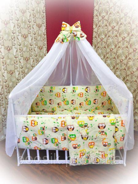 """Детский постельный комплект бежевый """"Совы"""" Bonna 9 в 1"""