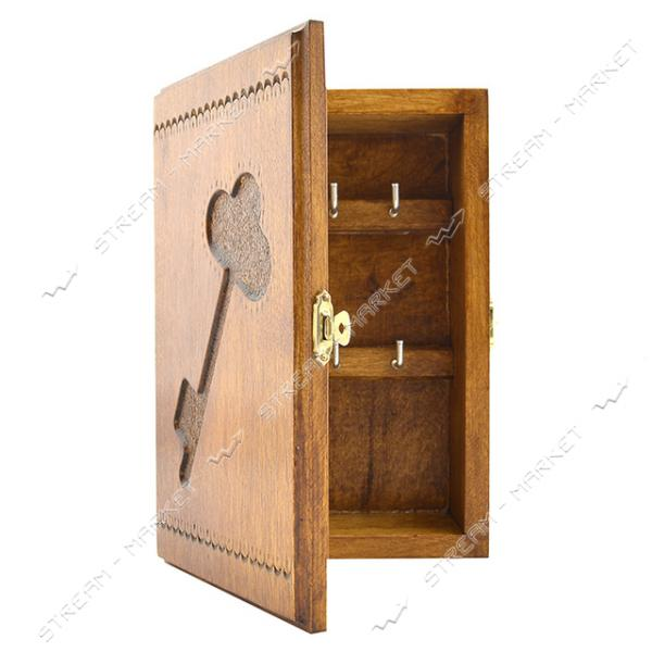 Ключница деревянная Ключик 6 ключей 21х14см на защелке