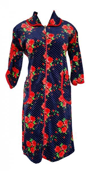 Цветной велюровый женский халат на молнии 60р