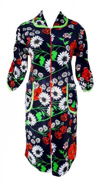 Фото Халаты, Халаты велюровые Цветной велюровый женский халат на молнии 52р