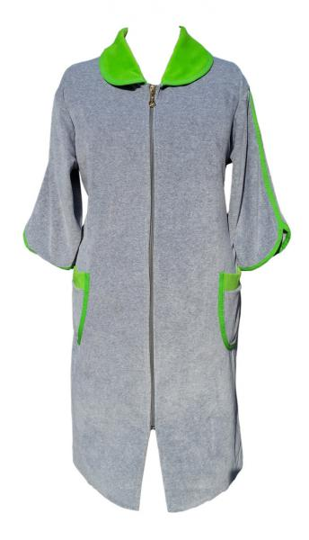 Велюровый женский халат на молнии 62р