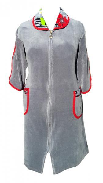 Велюровый женский халат на молнии 58р
