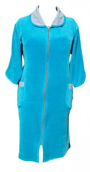 Велюровый женский халат на молнии 56р