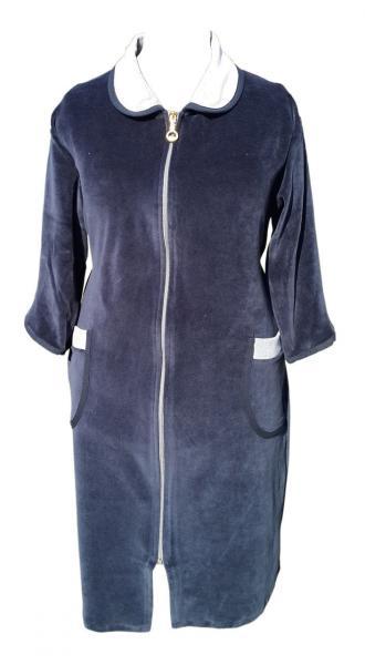 Велюровый женский халат на молнии 54р