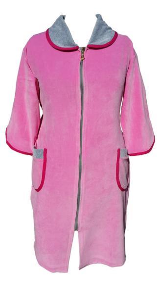 Велюровый женский халат на молнии 52р