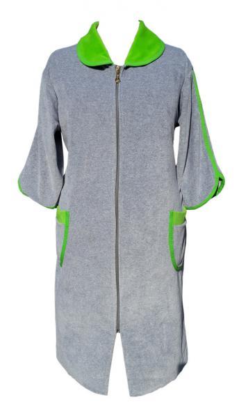 Фото Халаты, Халаты велюровые Велюровый женский халат на молнии 50р