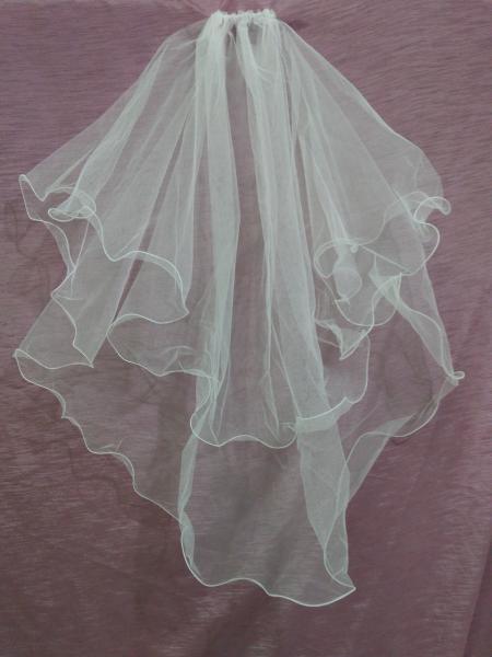 Свадебная фата короткая белая с опековкой