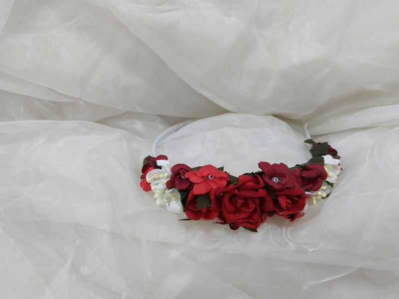 Обруч/венок/ободок на голову из цветов красный с белым для взрослых и детей