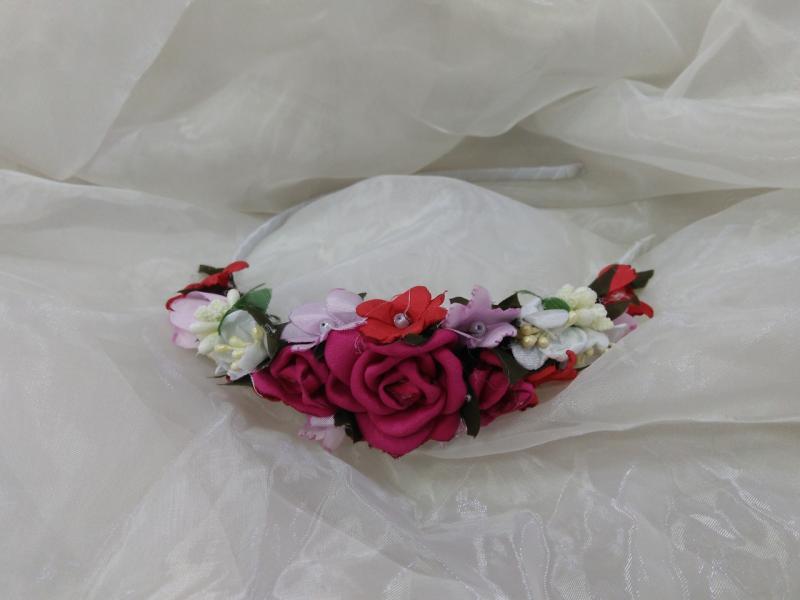 Венок-ободок из цветов (обруч) малиновый для взрослых и детей