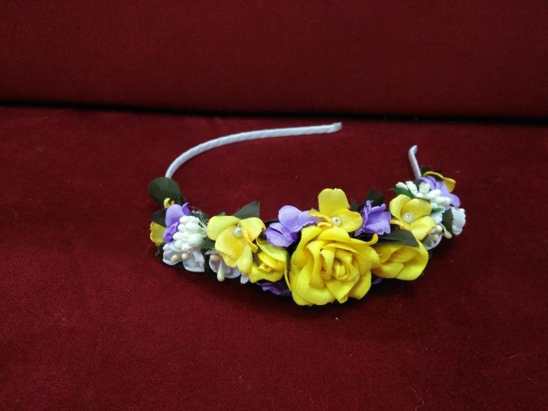 Венок-ободок (обруч) из цветов желтый с сиреневым для взрослых и детей