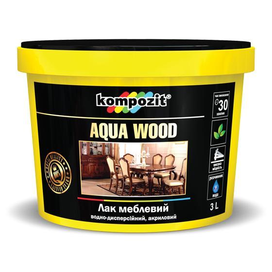 Лак мебельный Kompozit AQUA WOOD полуматовый 2,5 л
