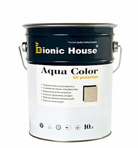 Солнцезащитная краска лазурь для дерева  BIONIC HOUSE Aqua Color UF protect 10 л Пепел