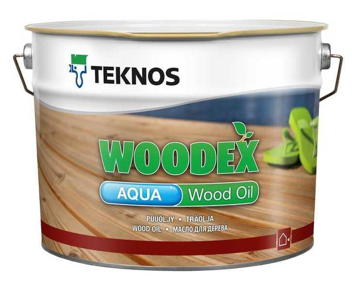 Масло воднодисперсионное TEKNOS WOODEX AQUA WOOD OIL для древесины, 9л