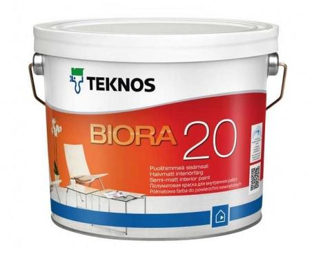 Краска  акрилатная полуматовая для стен TEKNOS Biora 20 9 л База 3 в темные тона