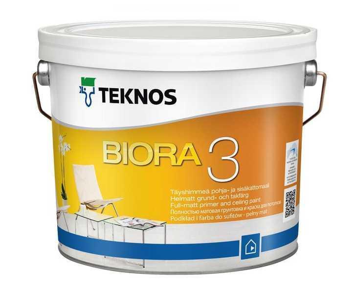 Краска акриловая TEKNOS BIORA 3 для потолков, белая (база 1) 9л