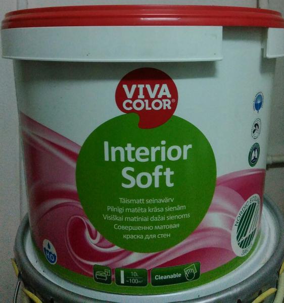 Совершенно матовая интерьерная акриловая краска для стен и потолков Viva Color  Interior Soft база А 2,7 л