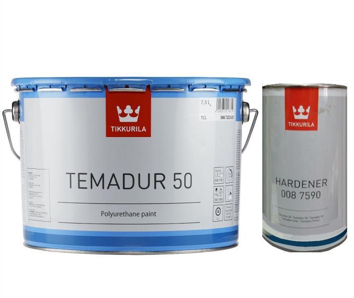 Эмаль полиуретановая TIKKURILA TEMADUR 50 TAL износостойкая+отвердитель(комплект)  9 л.