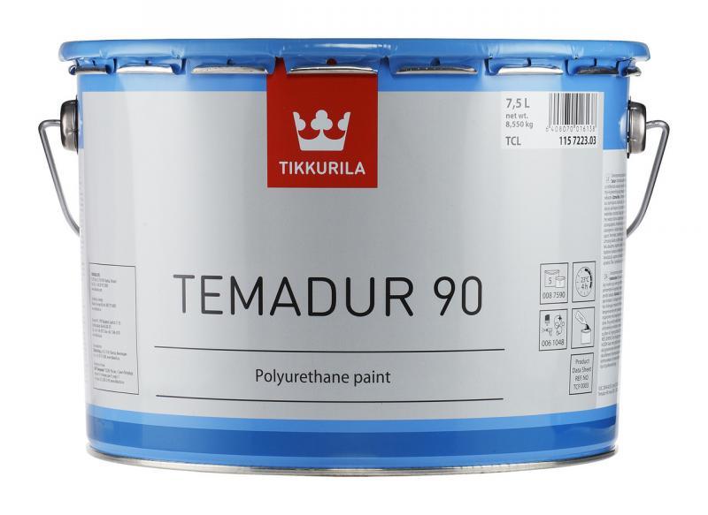 Эмаль полиуретановая высокоглянцевая TIKKURILA TEMADUR 90 TAL износостойкая+отвердитель(комплект)  2,7 л.