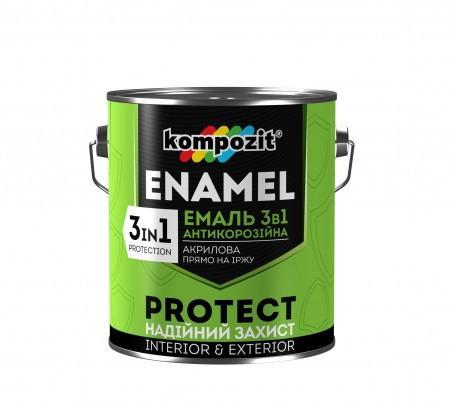 Эмаль-грунт антикоррозионная ENAMEL Kompozit  3 в1 коричневый 0,75 кг