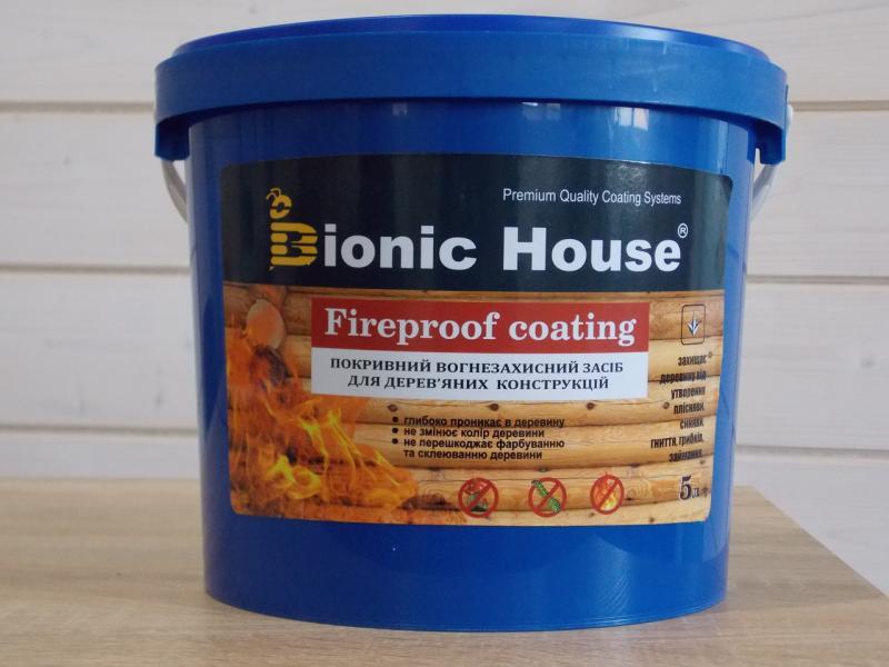 Фото Лаки краски, Защита дерева, Огне-биозащита Огнестойкая  краска антипирен для дерева Bionic House антипирен 1-я группа ГОСТ 12.1.044-89 5кг