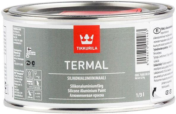 Фото Лаки краски, Защита метала, Эмали термостойкие Краска для термостойких покрытий Termal Tikkurila +600 серебристая  0,33 л.