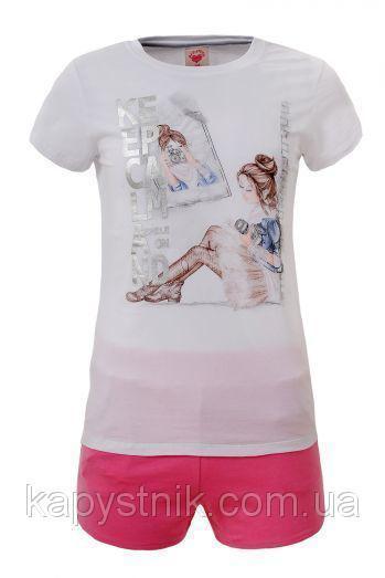 Трикотажный комплект для девочки Glo-Story: GLT-4090 Бел+Роз