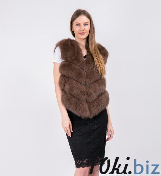 Жилетка Fursini из песца светло-коричневая Женский меховой жилет в России