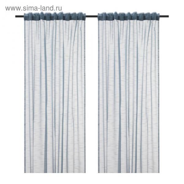 Гардины ГЕРТРУД, размер 145х300 см-2 шт., цвет серо-синий
