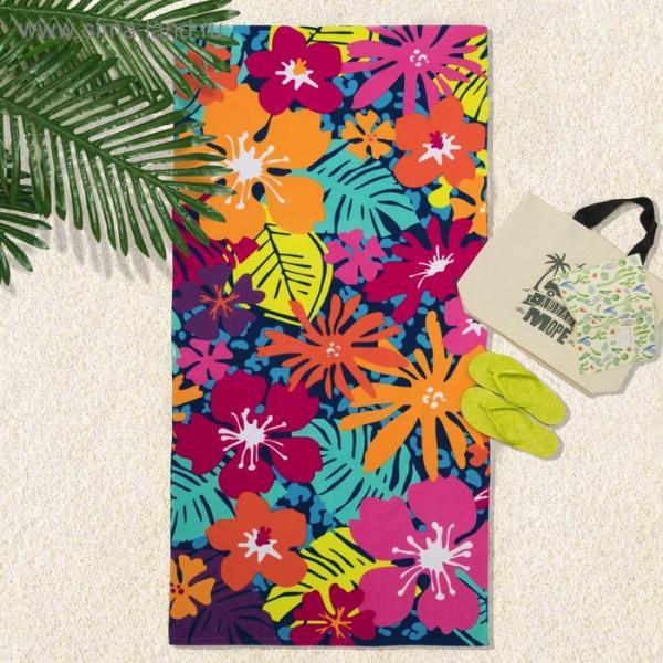 Полотенце пляжное 70*150 см, Летние краски, микрофибра 250гр/м2