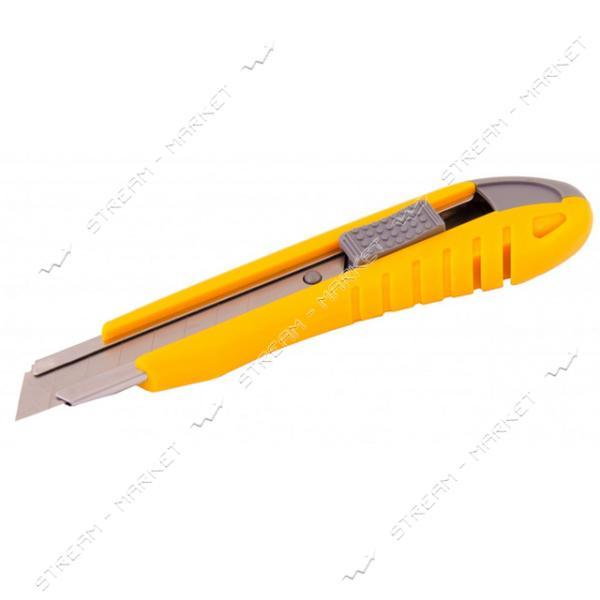 Нож MASTERTOOL 17-0101 18мм пластиковый с метал. направляющей, кнопочный фиксатор 2 лезвия