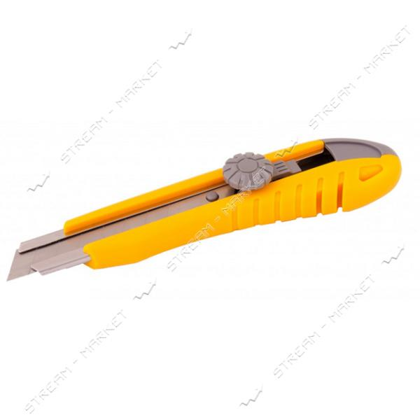 Нож MASTERTOOL 17-0102 18мм пластиковый с метал. направляющей, винт. замок 2 лезвия