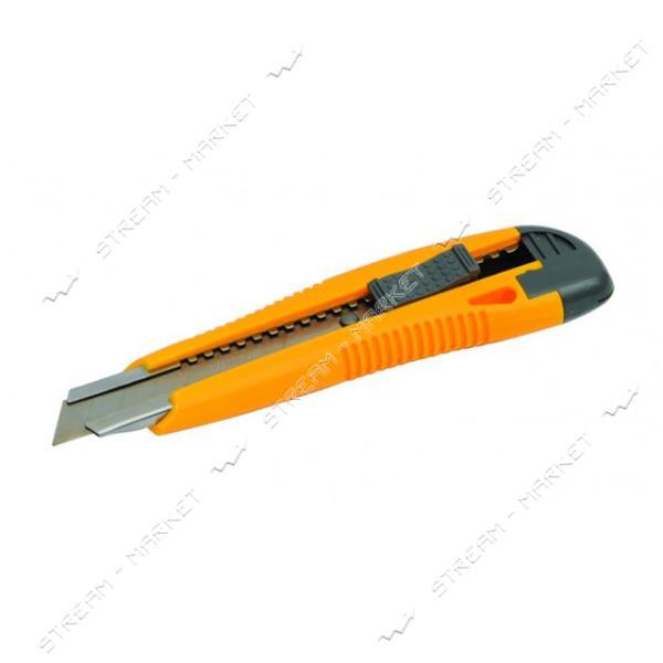 Нож MASTERTOOL 17-0106 18мм пластиковый с метал. направляющей, кнопочный фиксатор 2 лезвия