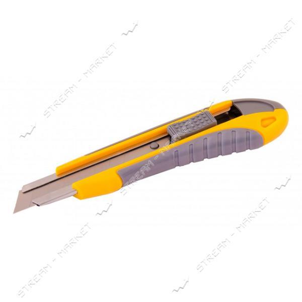 Нож MASTERTOOL 17-0111 18мм с метал. направляющей, кнопочный фиксатор 2 лезвия