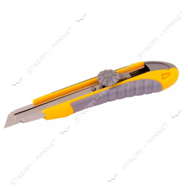 Нож MASTERTOOL 17-0112 18мм с метал. направляющей, винтовой замок 2 лезвия